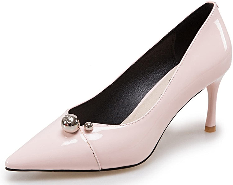 Nine Seven Patent Leather Women's Pointed Toe Stiletto Heel Bead Handmade Dress Pump