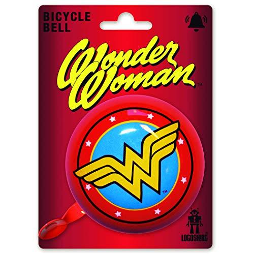 Logoshirt - DC Comics - Wonder Woman Logo - Campanello Bici Vintage - Grande - Rosso - Design Originale Concesso su Licenza