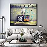 yaonuli Banksy Graffiti Arte Astratta Dipinti su Tela Poster e Stampe Life is Short Cold Duck Quadri su Tela Decorazione della casa Pittura Senza Cornice 60x83cm