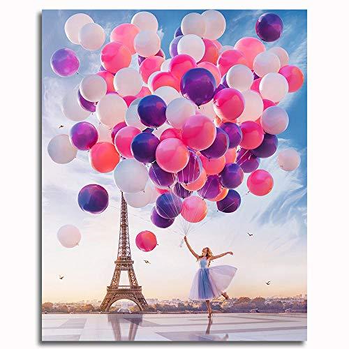 Pintar por números para Adultos y niños Kits de Regalo de Pintura al óleo DIY -Paris Eiffel Tower Globo niña 16 * 20 Inch