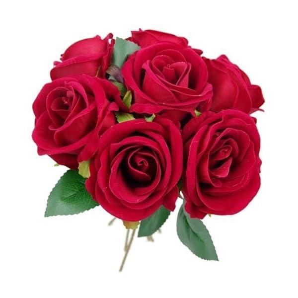26cm Artificial terciopelo Touch rosa diseño de ramo de mano con 7cabezales de flor grande–casa boda