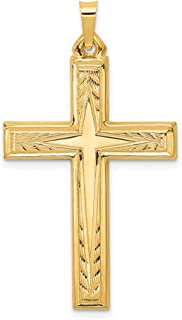 14k Yellow Gold Brushed Latin Cross Religious Pendant Charm Necklace Fine Jewelry Gifts For Women For Her