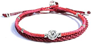Wakami Red String Bracelet Set of 2 | Charm Love Bracelets for Women & Men | Waterproof, Wax Coated String | Handmade Fair...