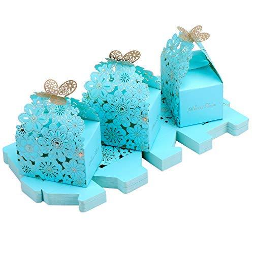 Manylifefashion Cajas de dulces de papel hueco, cajas de regalo de boda con patrón de flores, cajas de regalo de fiesta con patrón de mariposa, cajas creativas de papel (S: 7 x 6,5 x 4 cm, azul)