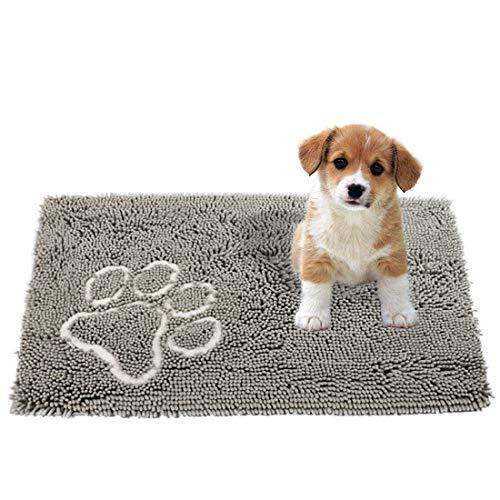 RUGKING Absorbent Microfiber Dog Door Mat, Prevent Mud Dirt Dog Floor Mat, Non Slip Pet Mats Rugs, Machine Washable w/Paw Print (M, Gray)