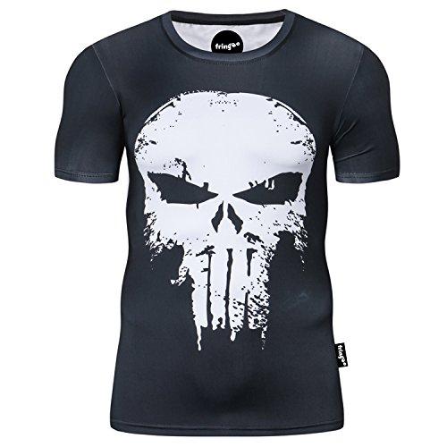 Fringoo® maglietta da uomo, a compressione, ideale come maglia intima o come maglietta per allenamento e corsa, a maniche corte, termica, motivo supereroe Punisher - T-shirt L