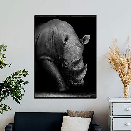 N / A Rhino Canvas Oil Painting Black and White African Wild Animal Poster Wall Painting Living Room Decoration Painting Frameless 60x90cm