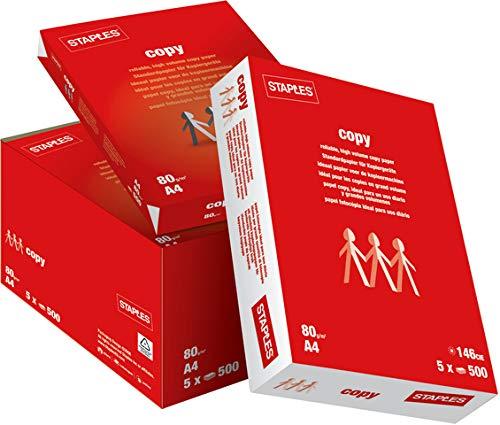 STAPLES® - Papel de impresión (A4, 80 g/m2, 5 x 500 hojas, 2500 hojas), color blanco