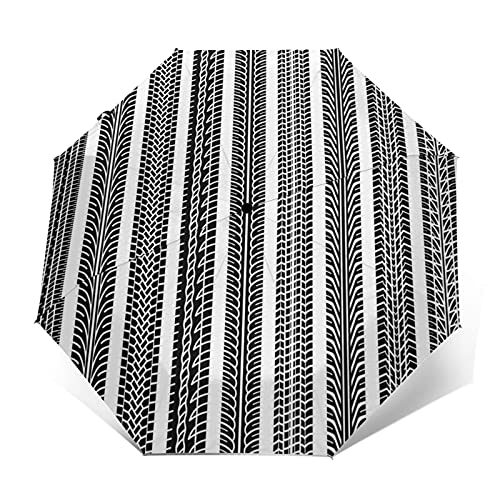 Paraguas Plegable Automático Impermeable Colección de Coches Pistas de neumáticos, Paraguas De Viaje Compacto A Prueba De Viento, Folding Umbrella, Dosel Reforzado, Mango Ergonómico