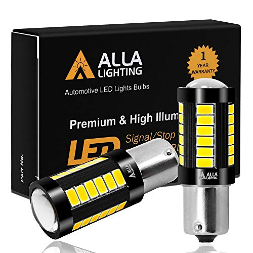 Alla Lighting 2800lm 7506 1156 LED White LED Bulbs Xtreme Super Bright BA15S 7506 1156 LED Bulb 5730 33-SMD LED 1156 Bulb for Back-Up Reverse / Turn Signal / Brake Stop Tail Lights, 6000K Xenon White