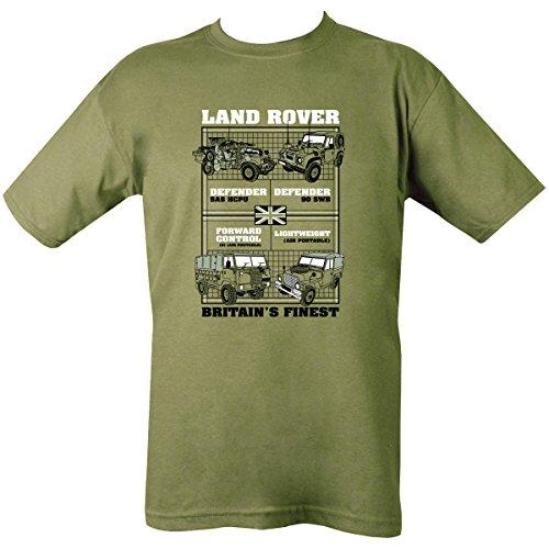 Kombat UK Uomo Land Rover T-Shirt, Uomo, Land Rovers, Olive Green, S