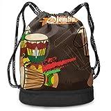 asdew987 Djembe - Mochila de percusión africana ultrarresistente con cordón, mochila deportiva ligera para hombres y mujeres, para viajes, camping, senderismo, playa, gimnasio, yoga, etc.