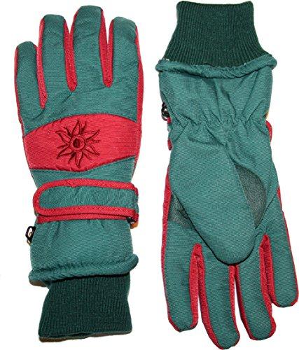 DIDSO Herren Snowboard Ski Schnee Handschuhe mit atmungsaktivem Fleecefutter und Schneefang am Handgelenk, sun grünrot L