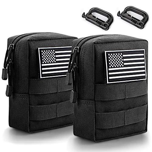 Monoki Molle Pouches, 2 Pack Tactical Waist Bag Water-Resistant EDC...