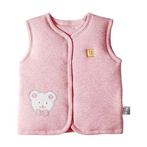Monvecle Baby Bio Baumwolle Warm Westen Unisex Infant bis Kleinkinder Gepolsterte Weste 18-24 M, Pink Bear