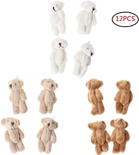CheeseandU 12Pcs 6CM Plush Mini Joint Teddy Bear Stuffed Animal Toys Wedding Gift Box Doll Toy for Birthday Cake Wedding Decorations Party Favors Supplies Bag DIY Accessory