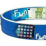 Laufgürtel Handy (Blau - L) - Premium Fitness Gürteltasche - Am besten für große Telefone...