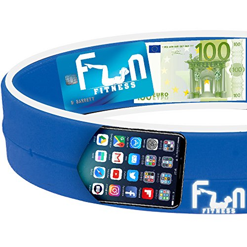 Laufgürtel Handy (Blau - L) - Premium Fitness Gürteltasche - Am besten für große Telefone geeignet - Perfekt für das Aktivitäten im Freien