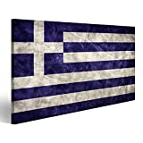 islandburner Bild Bilder auf Leinwand Griechenland Grunge Flagge. Vintage, Retro-Stil. Hohe Auflösung, hd Qualität. AR Wandbild Leinwandbild Poster DJI