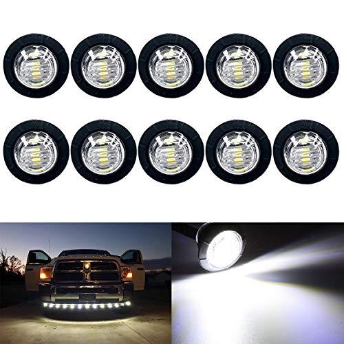KEING 10 Pack Sealed Waterproof Mini Round 3/4 Inch White LED Marker lights Signal Light 12V for Trailer Truck Bus Pickup Van ATV RV Lorry Caravan, 5 Years Warranty