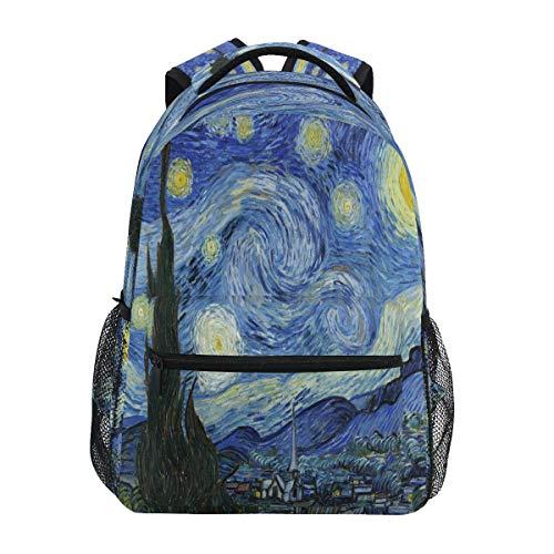 Lerous Rucksäcke Schultasche Book Bag Van Gogh Galaxy Daypack Kinder Teenager Damen Herren Schultasche Tagesrucksack Reisen Laptop Tasche