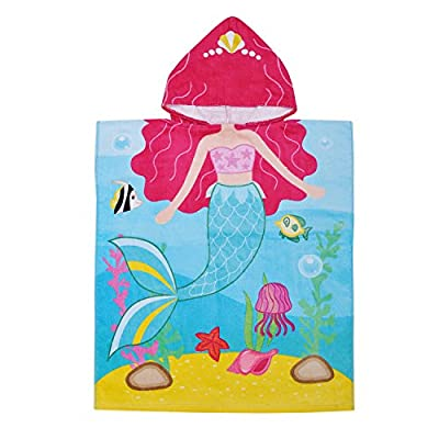 Kids Hooded Towel,100% Cotton Water Absorption Bath Towel Beach Poncho Changing Robe for Swimming Bathing, 2 to 6 Years Old Boys Girls
