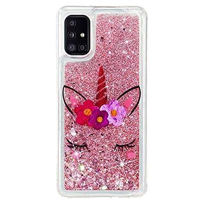 HopMore Glitter Funda para Samsung Galaxy A51 Purpurina Silicona Cover 3D Liquido Brillante Dibujos Transparente Carcasa Resistente (Borde Antigolpes) Case Protección - Unicornio