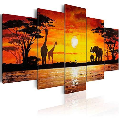 murando - Cuadro en Lienzo 200x100 cm Impresión de 5 Piezas Material Tejido no Tejido Impresión Artística Imagen Gráfica Decoracion de Pared Africa 5730