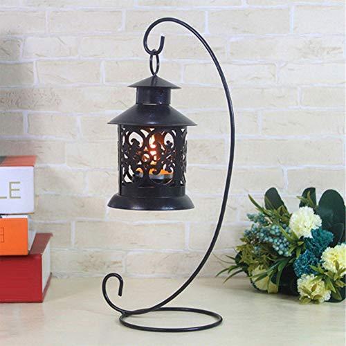 perlo33ER European Pastoral Decorative Candlestick, Kerzenleuchter Aus Eisen, Glaskugelkorb Mit Licht Und Laternenständer Schwarz