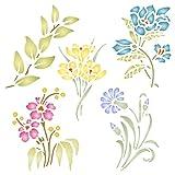 Juego de plantillas de flores – Plantilla de flores reutilizables – Uso en proyectos de papel, álbumes de recortes, diario, paredes suelos, muebles, muebles de cristal, madera, etc. large