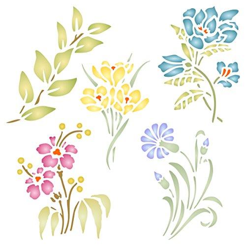 Set mit Blume Schablone–wiederverwendbar Blumen Flora Pflanzen Wand Schablone–Vorlage, auf Papier Projekte Scrapbook Bullet Tagebuch Wände Böden Stoff Möbel Glas Holz usw. L