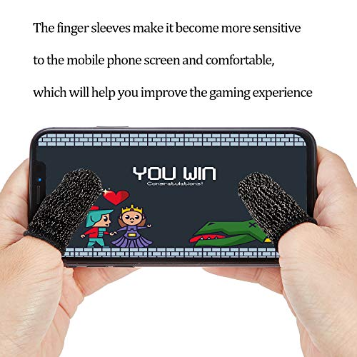 Gaming Finger Sleeve Touchscreen Finger Sleeve Anti-Sweat Breathable Touchscreen Finger Sleeve for Mobile Phone Games (Black White Grey, 30 Pieces)