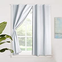 RYB HOME Décor Portable Curtain Shade Blind Window Shutter Interior Room Darkening Curtain for Kids Nursery, Hang Without Rod Privacy Curtain for Bathroom, Width 52 by Length 63 in, Greyish White