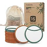 Almohadillas Desmaquillantes, TURATA 16Pcs Almohadillas de algodón de bambú reutilizables con bolsa de lavandería, Lavable Maquillaje facial Paños de limpieza para cara Todo Pieles