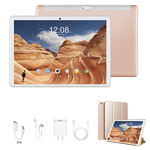 4G Tablet 10.1 Pulgadas Android 9.0, Quad Core DUODUOGO G10 3GB RAM 32GB ROM/128GB Escalables Tablet Baratas 4G 8500mAh Double SIM/Cámara OTG WiFi Tablet PC (Oro)