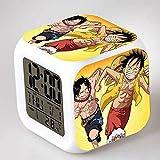 CXHFDC Reloj de Alarma Cute Anime One Piece Monkey D. Luffy Portgas·D· Ace, 7 Colores LED Brillante Reloj Despertador Digital, para niños Festival Regalos Función de repetición multifunción Reloj