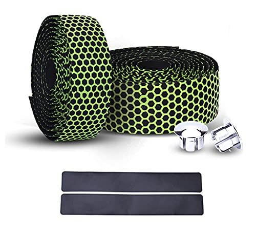 PLATT Road Bike Handlebar Tapes Bicycle Bar Tape Superior Breathable Hexagon Non-Slip Bike Handlebar Tape Bike with Bar End Plugs,Green (2PCS Per Set)