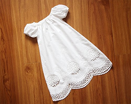 SALE Handmade Short Sleeves White Baby Girl Christening Gown Baptism Dress Embroidery