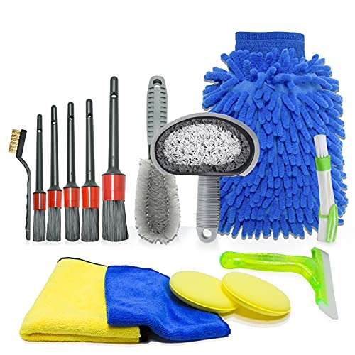 Vlovelife 15 Stücke Auto Autopflege Reinigung Set, Auto reinigungsset Innen Aussen, Auto Reiniger Set Außen, Autowäsche Set mit Reifenbürste, für Auto Motorrad Innen und Außen Haushalt Reinigung