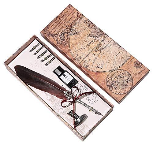 Tongdour - Set di penne stilografiche con penna stilografica e penna stilografica con 5 penne, regalo di nozze, Colori misti, Misura unica