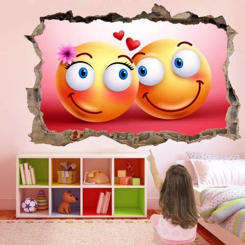 Emoji Carita Feliz Amor Autoadhesivo Removible Sticker Personalizado Vinil Pegatina de Pared Autocolante Decorativo Wall Decals Etiqueta Decoración de Pared M355 (Gigante: 150 cm x 100 cm)