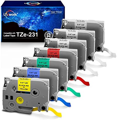 Uniwork TZe 231 Compatible Label Tape Replacement for Brother TZe 231 TZe431 TZe531 TZe631 TZe731 product image