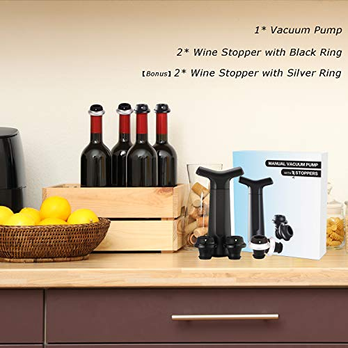 HYZ Wine Saver Pump with 4 Vacuum Wine Stoppers Silicone 2 Black 2 Silver