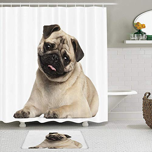 CIKYOWAY 2Pcs Nine Months Old Pug Puppy Lying Around Cute Pet Funny Animal Domestication,Shower Curtain Set with Non-Slip Rugs,Bathroom Mats and 12 Hooks,Durable Waterproof Bath Curtains