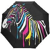 Cebra Acuarela Negro Animal Tropical Paraguas Abierto automático Sol Lluvia Paraguas Anti UV Plegable Paraguas automático Compacto