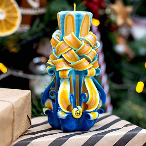 Handgeschnitzte Kerzensäule für Weihnachtsgeschenk und Inneneinrichtung für Chanukka-Geschenk
