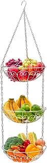 EZOWare Corbeille à Fruits Suspendue en Fer à 3 Étages, Rangement de Cuisine Panier de Rangement, pour Fruits, Légumes, Pa...