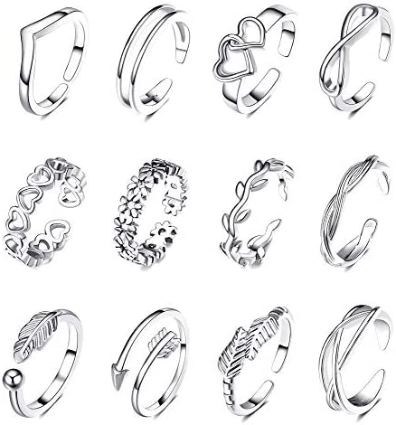 SHIWE 12PCS Adjustable Toe Rings for Women Flower Arrow Band Open Tail Ring Women Beach Foot product image