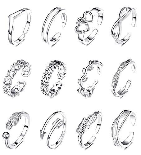 SHIWE 12PCS Adjustable Toe Rings for Women Flower Arrow Band Open Tail Ring Women Beach Foot Jewelry Set