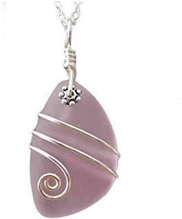 "product image for Handmade in Hawaii, wire wrapped jewelry""October Birthstone Color"" pink sea glass necklace, (Hawaii Gift Wrapped, Customizable Gift Message)"